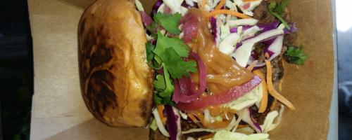 Char Shu Pork Sandwich with Chipotle BBQ Cucumber Wasabi Asian slaw.