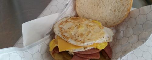 The famous Taylor Ham,  egg & cheese!