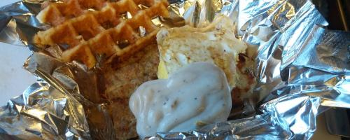 Breakfast Waffle: Pork Patty, Fried Egg and White Gravy