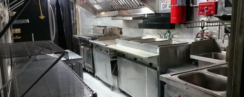 Equip with commercial kitchen equipment & fire suppression system