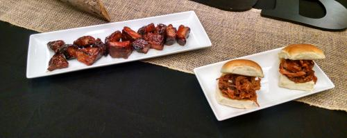 Slow smoked Ribbies (mini rib bites), Pulled Pork & Pulled Chicken Sliders